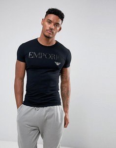 Футболка с круглым вырезом и логотипом Emporio Armani - Черный