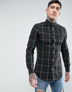 Поплиновая рубашка в клетку Threadbare - Зеленый