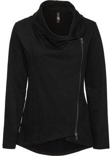 Трикотажная куртка с асимметричной молнией (черный) Bonprix
