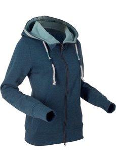 Трикотажная куртка с вышивкой и длинным рукавом (темно-синий меланж) Bonprix