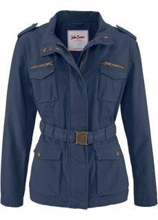 Парусиновая куртка с поясом в талии (темно-синий) Bonprix