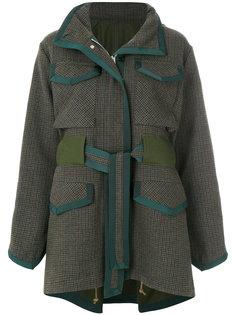 твидовое пальто с поясом  Sacai