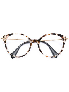 очки в черепаховой оправе Miu Miu Eyewear