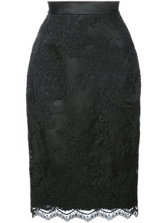 lace fitted mid skirt Marchesa