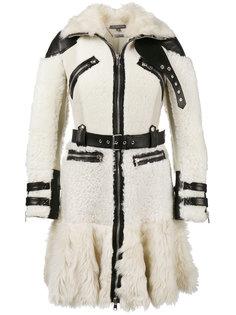 байкерское пальто с кожаной оторочкой Alexander McQueen