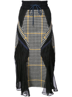 houndstooth wave panelled skirt Sacai