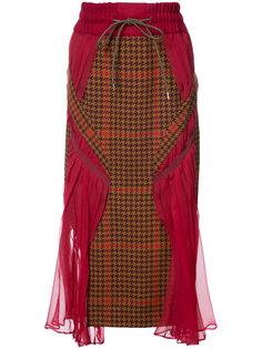 юбка с плиссированными вставками Sacai