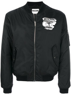 куртка-бомбер с принтом-логотипом Moschino