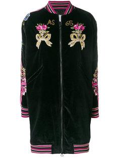 длинная куртка-бомбер с вышивкой  As65