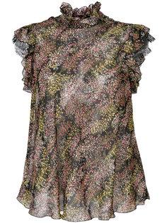 блузка с цветочным принтом и оборками  Giambattista Valli