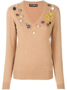 джемпер с цветочными нашивками  Dolce & Gabbana