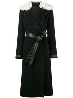 пальто с меховым воротником  Helmut Lang