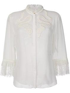блузка с вышивкой и кружевной отделкой  Roberto Cavalli