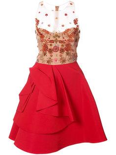 прозрачное декорированное платье с оборками Marchesa Notte