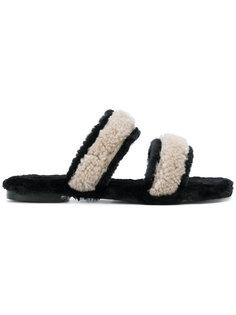shearling double strap sandals Avec Modération