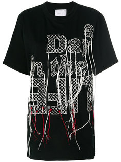 stitched slogan T-shirt Sacai