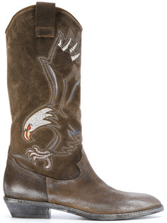 eagle embroidered cowboy boots Fausto Zenga