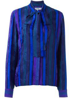 полосатая рубашка с цветочным принтом Jean Louis Scherrer Vintage