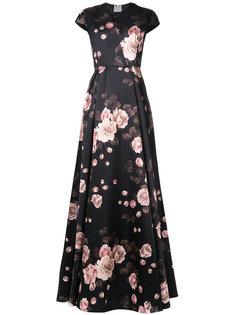 длинное платье с цветочным узором Rochas