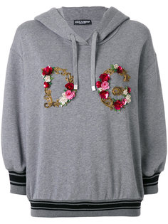 floral embroidery logo hoodie Dolce & Gabbana