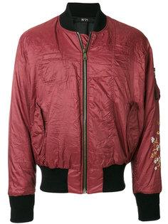куртка-бомбер с цветочным украшением Nº21