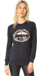 Markus Lupfer Sequin Fower Lip Natalie Sweater