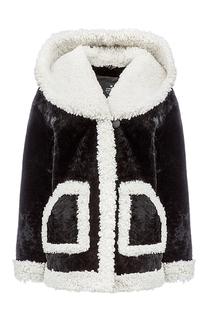 Шуба из овчины с капюшоном Снежная Королева