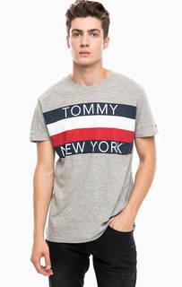 Серая хлопковая футболка с принтом Hilfiger Denim