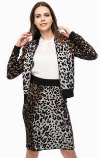 Трикотажная куртка-бомбер с животным принтом Desigual