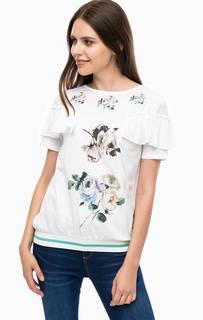 Хлопковая футболка с оборками на рукавах Desigual