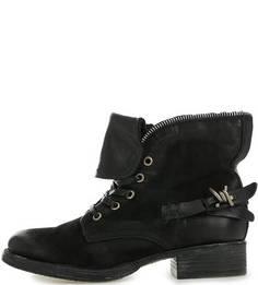 Черные кожаные ботинки на шнуровке и молнии Mjus