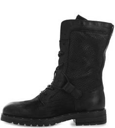 Высокие кожаные ботинки на молнии и шнуровке Mjus