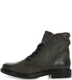 Серые кожаные ботинки на шнуровке Mjus
