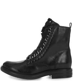Черные кожаные ботинки на молнии и шнуровке Mjus