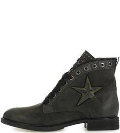 Серые замшевые ботинки на молнии и шнуровке Mjus