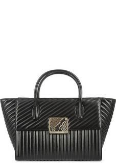 Черная стеганая сумка с короткими ручками Cavalli Class