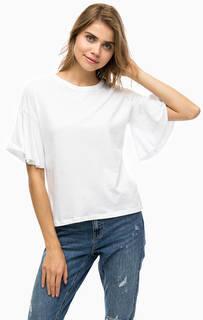 Белая хлопковая футболка Only