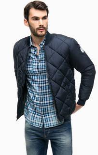 Синяя стеганая куртка бомбер Jack & Jones