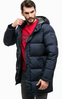 Длинный зимний пуховик с капюшоном EA7