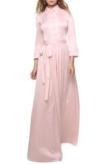 Атласное платье с отложным воротником и пуговицами MARICHUELL