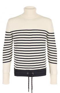 Шерстяной свитер в контрастную полоску с воротником-стойкой Moncler