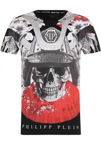 Хлопковая футболка с принтом и круглым вырезом Philipp Plein
