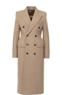 Двубортное приталенное пальто с клетку Balenciaga