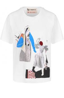 Хлопковая футболка с круглым вырезом и принтом Marni