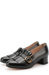 Кожаные туфли с бахромой и перемычкой Gallucci