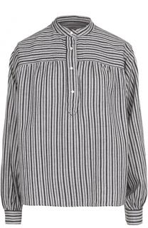 Хлопковая блуза в полоску с воротником-стойкой Isabel Marant Etoile