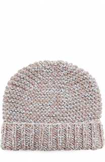 Вязаная шапка с отворотом и отделкой металлизированной нитью 7II