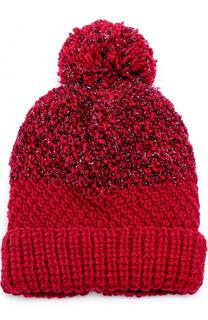 Шерстяная вязаная шапка с помпоном и отделкой металлизированной нитью 7II