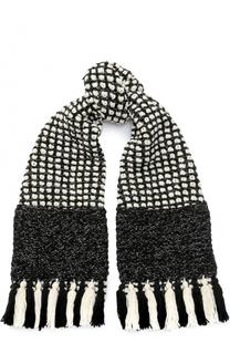 Шерстяной шарф с отделкой металлизированной нитью и бахромой 7II