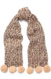 Шерстяной шарф с отделкой металлизированной нитью и помпонами 7II